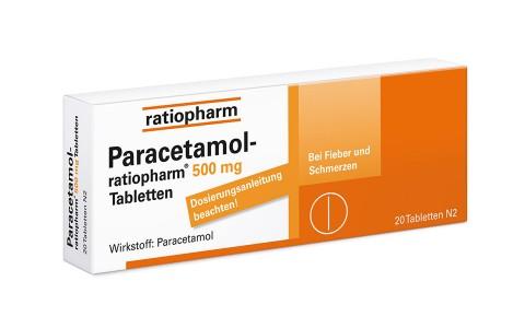 Paracetamol ratiopharm 500 mg Tbl. 20 St. 1,45 €